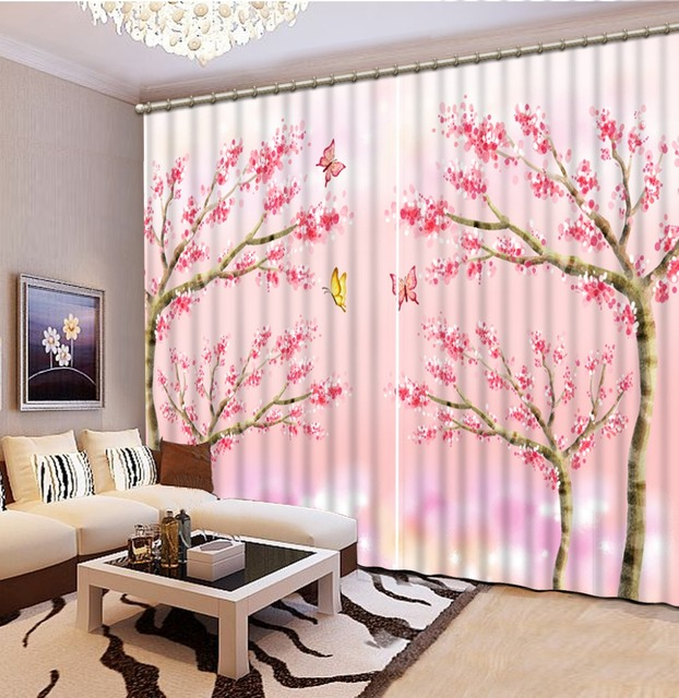 Pink scenery 3D Window Curtains For Bedding room Curtains for living ...
