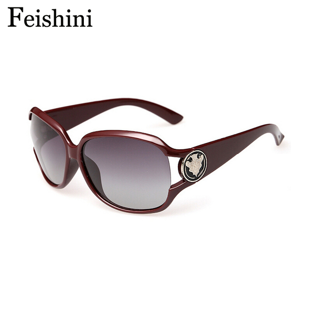 FEISHINI Big Frame High Grade Vintage oculos de sol feminino Fashion UV400 Trend Polarized Sunglasses Women Brand Designer 2017