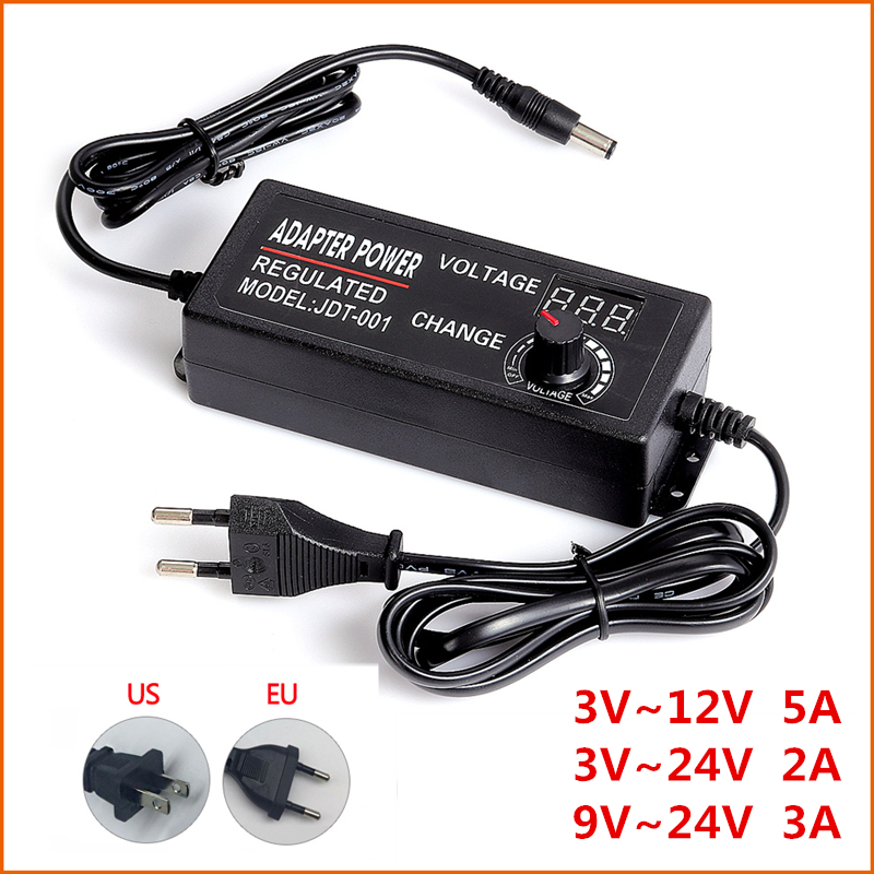 Adjustable AC to DC 3V-12V 3V-<font><b>24V</b></font> 9V-<font><b>24V</b></font> Universal adapter with display screen voltage Regulated <font><b>power</b></font> <font><b>supply</b></font> adatpor 3 12 24 v image