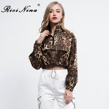 RICININA 2019 Rits Sexy Vrouwen Jassen en Jassen Fashion Lange Mouwen Leopard Casual Crop Top Vrouwen Casual Jas Vrouwen