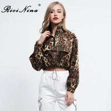 RICININA 2019 Zipper Sexy  Women Coats and Jackets Fashion Long Sleeve Leopard Casual Crop Top Jacket