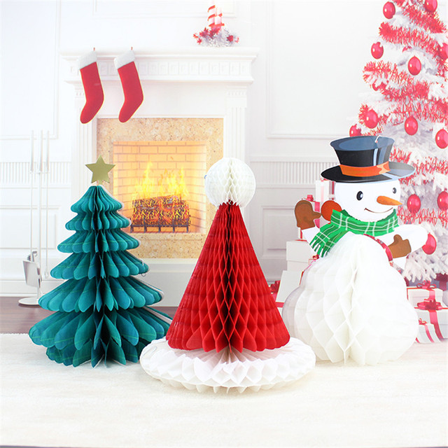 Paper Ball Christmas Decorations Adorable 1Pc Christmas Tree Hat Snowman Paper Honeycomb Ball Christmas Design Decoration