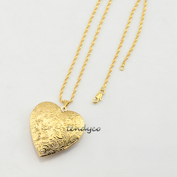 Aliexpress Buy Womens Mens Girls Yellow Gold Color Locket Heart Pendant Print Open Style Photo Optional Chain Necklace Jewelry From Reliable