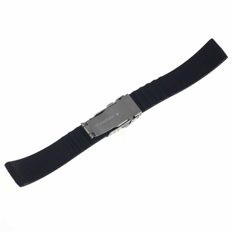 NEW Fashion watch band 18mm, 20mm, 22mm, 24mm Gomma di Silicone Watch Strap Fascia Deployment Buckle Impermeabile M01