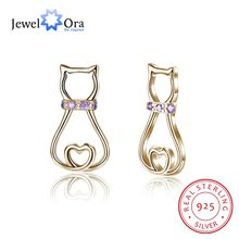 925 Perak Stud Earrings Wanita Purple Cz Batu Earrings 2018 Baru Kedatangan Trendy Perhiasan Lucu Hadiah (Jewelora EA103003)(China)