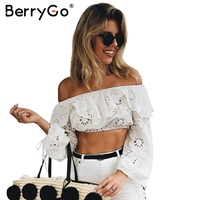 BerryGo Embroidery Flower Off Shoulder Ruffles Blouse Women Sexy Long Sleeve Hollow Out Blouse Autumn Streetwear