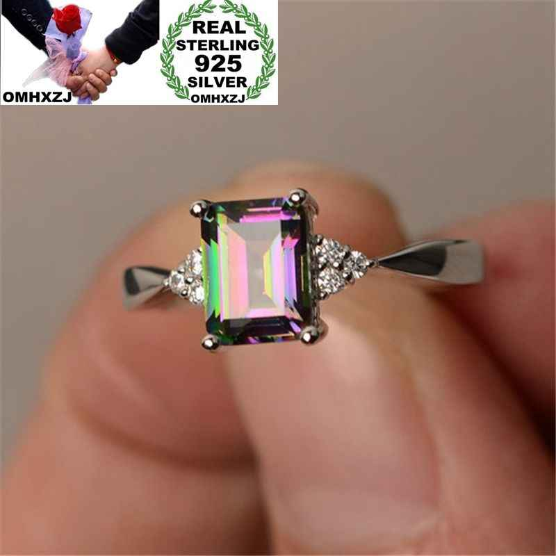 OMHXZJ Wholesale Personality Fashion OL Woman Girl Party Wedding Gift Colorful Blue AAA Zircon 925 Sterling Silver Ring RN132