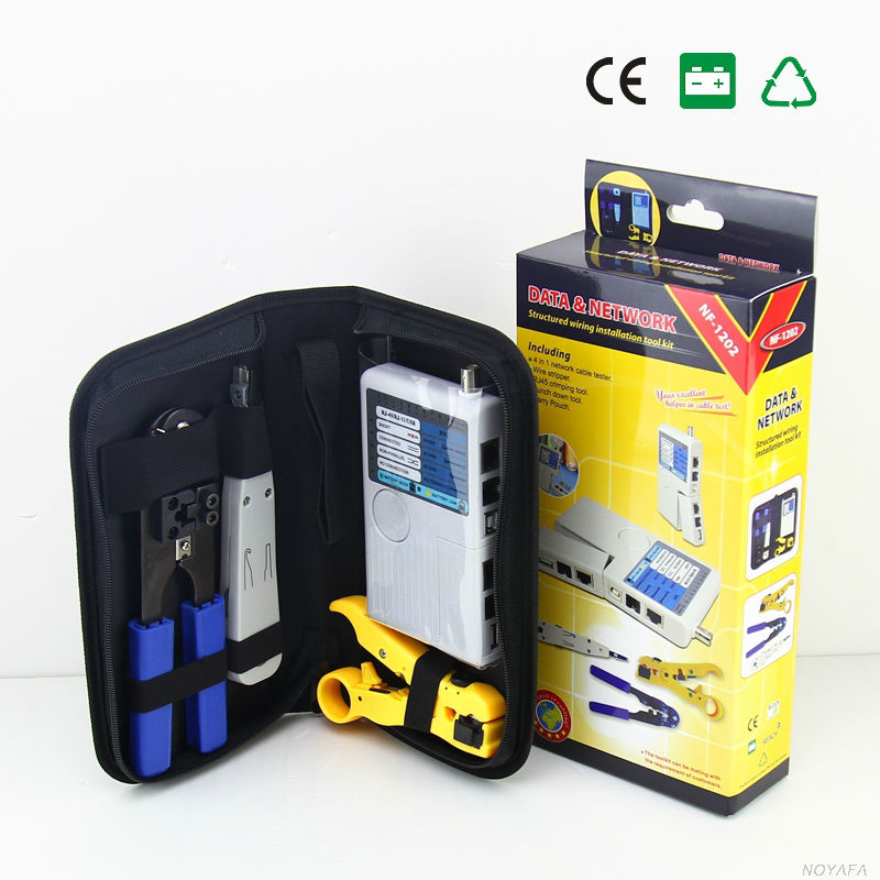 4 in 1 Line Finder RJ45 Crimper Wire Tracker Tone Tool Kit Noyafa NF-1202 LAN Network Cable Tester Krone Stripper Crimp Tool wlxy 11 in 1 telecommunications maintenance diagnostic tools set ns 468 cable tester 3 way crimper tool cable stripper