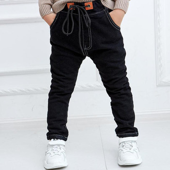 Baby boys jeans 1-7T kids spring warm pants infant winter casual velvet trousers children denim trousers boys black jeans pants 1