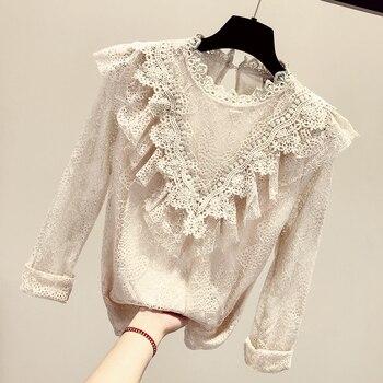 MUMUZI 2019 Spring new basic lace blouse Women Long Sleeve ruffles Tops white and apricot hollow out shirts female crochet shirt цена 2017