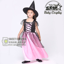 New Arrival Witch Costume Fancy Children Halloween Costume Girls Cosplay Fancy Gauze Dresses Carnival Masquerade Kids