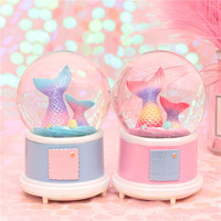 Mermaid music box Snow crystal ball cute home living room decoration romantic grilfriend gift surprise kids gift new arrive