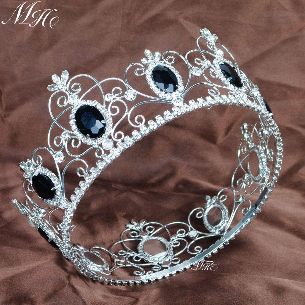 Crowns full circle round tiaras rhinestones crystal wedding bridal - King Prince Black Stones Crystal Crowns Full Round Circle Tiaras Wedding Bridal Pageant Prom Party Accessories Men Headpiece