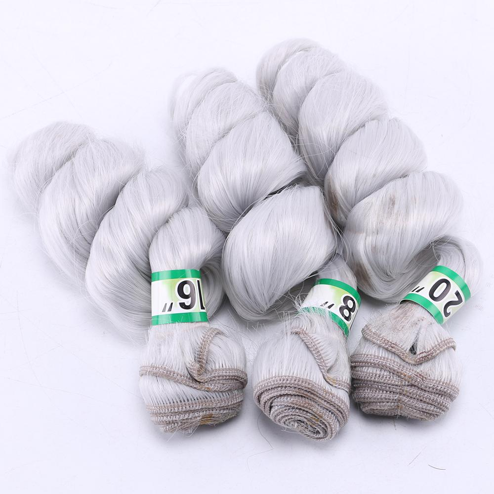2 pieces one lot Slivery grey synthetic hair weave high temperature loose wave hair bundle for women(China)