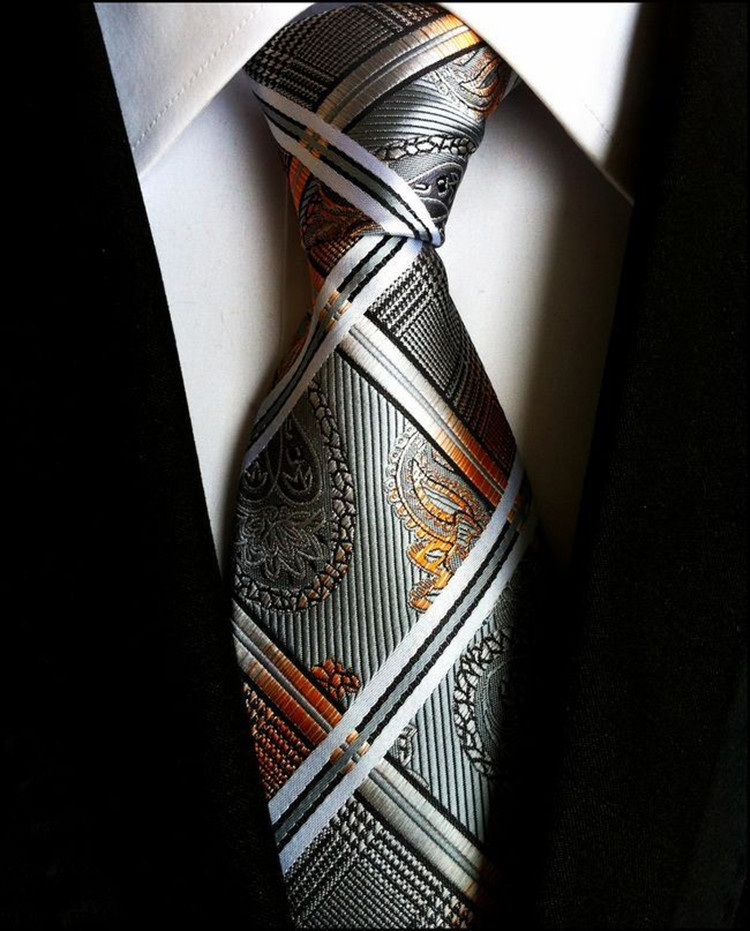 High Quality Paisley Glod Silver 100 Silk Necktie New Fashion Jacquard Woven Classic Ties For Men