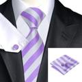 C-1478 Hi-Tie Vintage Neck Tie Set 8.5cm Striped Mens Tie Pocket Square Cufflinks Fashion Purple White Silk Ties For Men Corbata