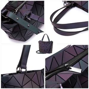 Image 5 - Lovevook bag set women handbag luxury designer folding crossbody shoulder bag female purse and ladies geometric luminous bag