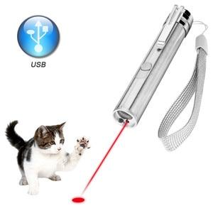 3 In 1 Laser Pointer LED Flashlight For Cats Pet Training Tool USB Rechargeable UV Flashlamp LED Flash Light Mini Lanterna Lamp(China)