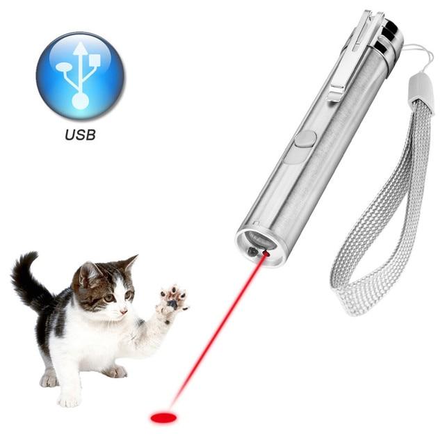 3 en 1 pointeur Laser lampe de poche LED pour chats outil de formation pour animaux de compagnie USB Rechargeable lampe de poche UV lampe de poche LED Mini lampe de lanterne