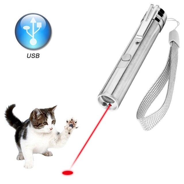 3 Trong 1 Bút Chỉ Laser Đèn LED Cho Mèo Huấn Luyện Thú Cưng Dụng Cụ Sạc USB UV Flashlamp Đèn Led Mini lanterna Đèn