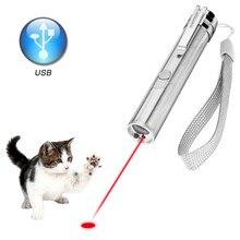 Linterna LED con puntero láser 3 en 1, herramienta de Entrenamiento de mascotas para gatos, linterna UV recargable vía USB, Mini linterna destello de luz LED