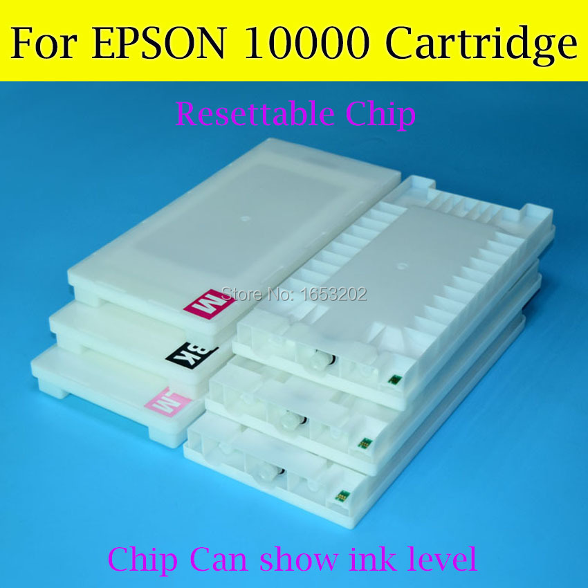 6 Pieces/Lot Wide Format Ink Cartridge For Epson 10000 Printer With Resettable Cartridge Chip