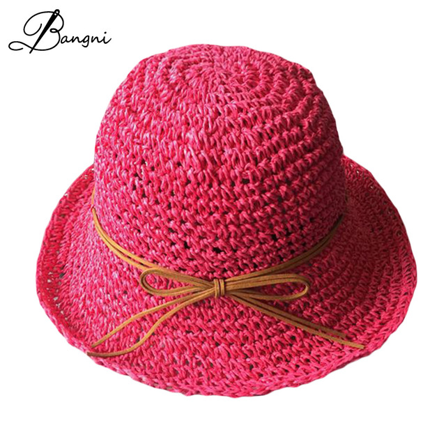 2017 Summer Candy Colors Hats For Women Handmade Crochet Straw Hat Girls Bucket  Hat Ladies Beach Cap Chapeu Feminino 6c0decc8698