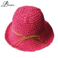 2017 Summer Candy Colors Hats For Women Handmade Crochet Straw Hat Girls Bucket Hat Ladies Beach