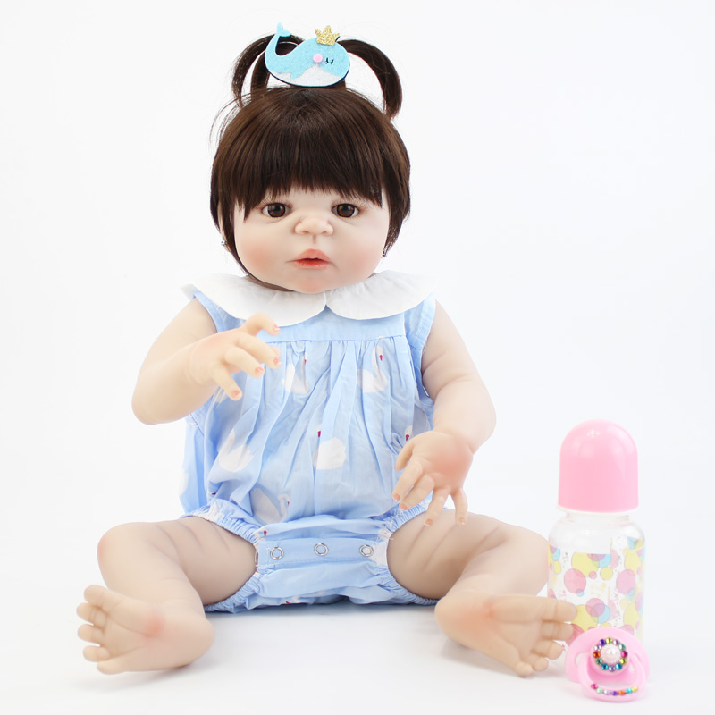 55cm Full Silicone Reborn Baby Doll Toy Lifelike Vinyl Newborn Princess Toddler Girl Babies With Earring Like Alive Bebe Bonecas