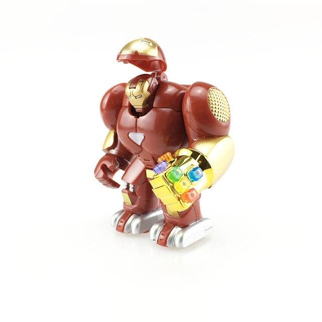 Única Venda Homem De Ferro Avengers Hulkbuster Figuras Ironman Marvel Super Hero Thanos Pantera Gem luvas Tijolo Brinquedos Para Crianças
