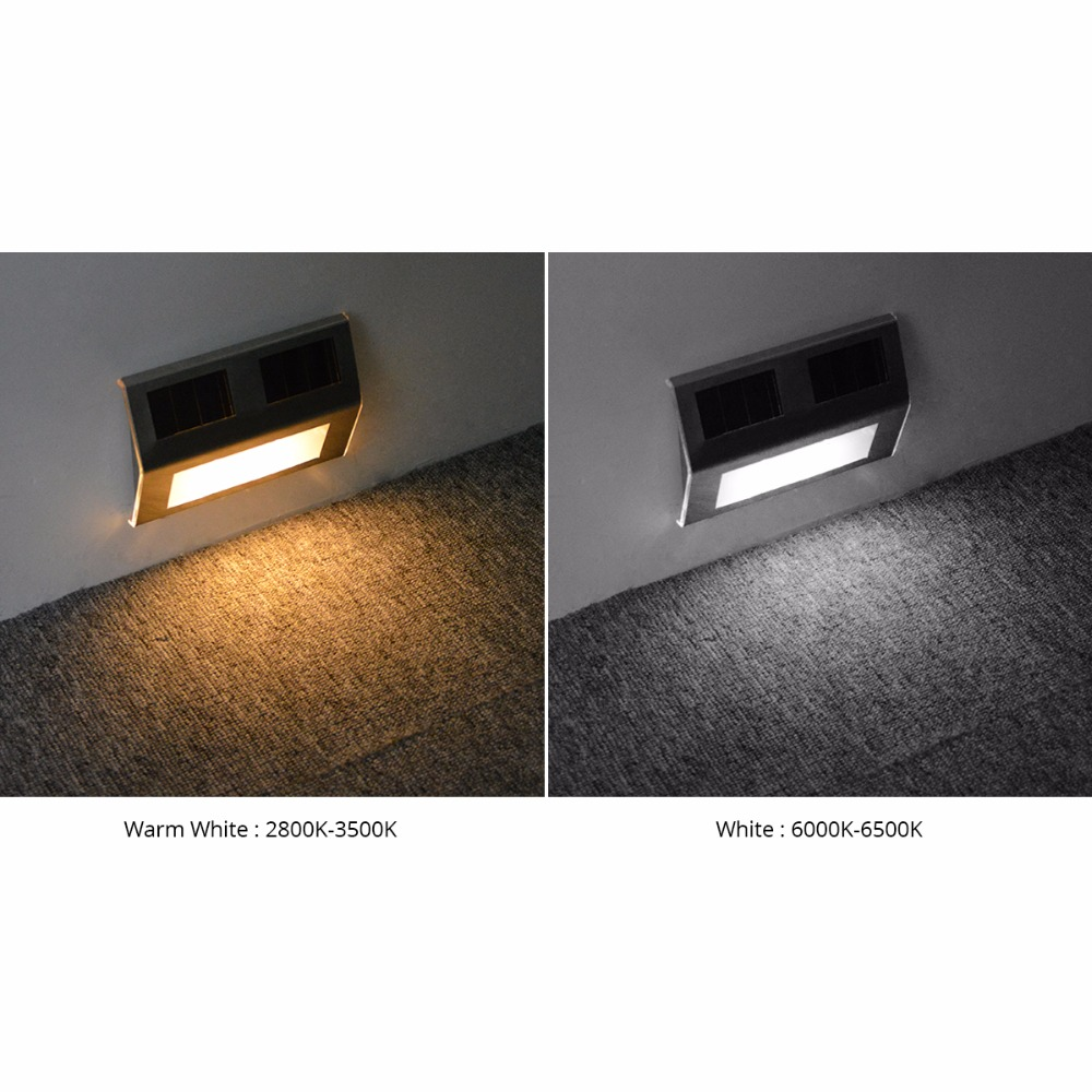 Solar panel charged led step light wall lamp 2 led stainless steel solar panel charged led step light wall lamp 2 led stainless steel waterproof outdoor stairs corner paths garden lighting decor in solar lamps from lights aloadofball Choice Image