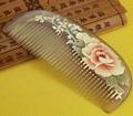1pcs Natural Horn Comb Of Hair Health Care handmade print flower Hair Brush Hairdressing Pocket no static Comb best gift