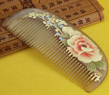1pcs Natural Horn Comb Of Hair Health Care handmade print flower Hair Brush Hairdressing Pocket no static Comb best gift
