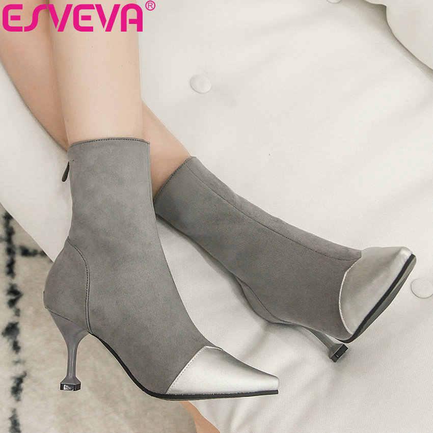 ESVEVA 2020 femme bottes élégant mince talons hauts chaussures Patchwork troupeau bout pointu chaussures Zipper hiver femmes bottines 34-43