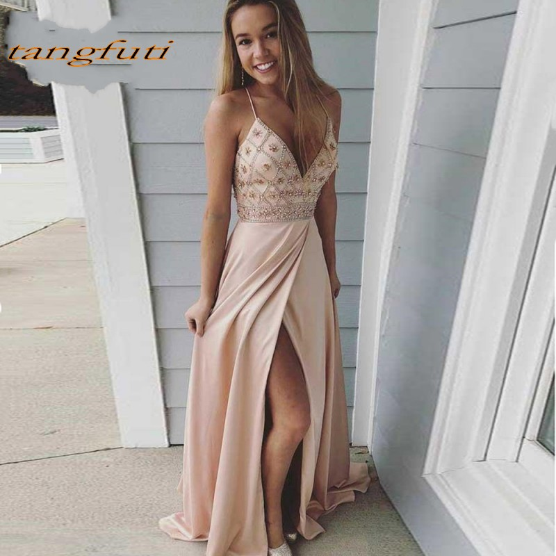 A Line Long   Prom     Dresses   2019 V Neck Beaded Fornt Slit Backless Women Party   Prom     Dress   Formal Evening vestido de festa longo