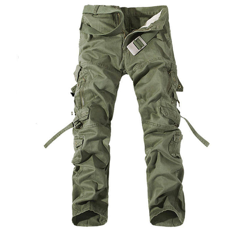 Man Cargo Pants Multi Military Overalls Army Combat Slack Pockets Trousers New Special Solid Design 0039