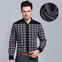 Chu Yuan Men S Casual Long And Warm Cashmere Stitching Plaid Shirt Cardigan Coat Thick Comfortable