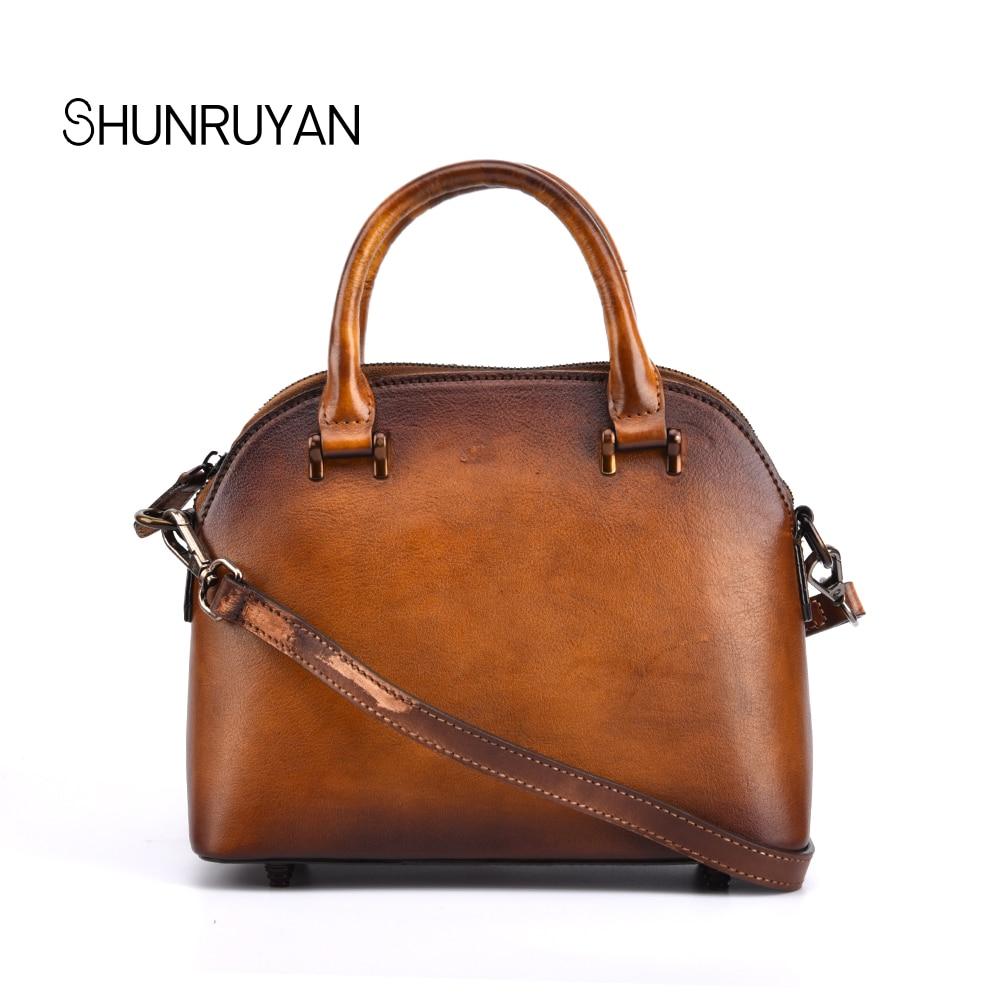 SHUNRUYAN Fashion women's handbag Retro solid color zipper shell handbag leather trend ladies shoulder Bag pink solid color off shoulder crop bodycon sweaters vests