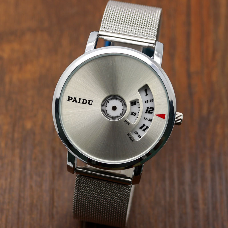 High Quality New Simple PAIDU Turntable Gray&Sliver Dial Men Women Wrist Watch