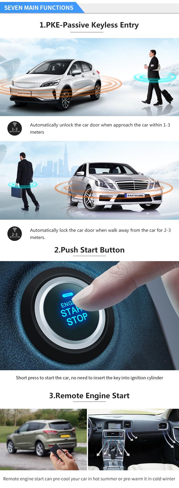 Easyguard Smart Key Pke Car Alarm System Remote Start Keyless Go Password Entry 600682323765