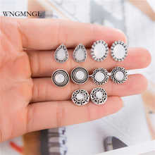 WNGMNGL 5 Pairs/Set Fashion Geometric Round Oval Opal Stud Earrings Vintage Antique Sliver Color for Women Jewelry Gift