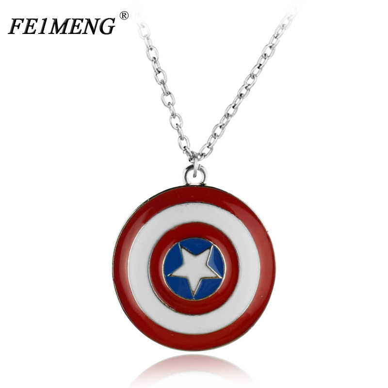 Super Hero Captain America Necklace The Avengers Superhero Logo Shield Pendant Necklaces For Men Fashion Jewelry Choker Gifts
