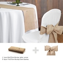 Rustic theme Wedding Decoration supply contain Burlap Chair Sashes jute Tie Bow burlap table runner Burlap Lace Tableware Pouch wedding party lace vintage jute table runner burlap fabric for burlap chair sashes burlap ribbon wedding decor supplies 15 240cm