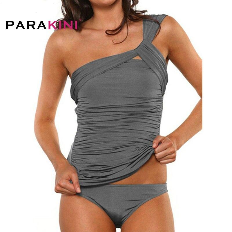 .PARAKINI One Shoulder Off Swimsuit 2018 New Women Two Pieces Ruched Tankini Plus Size XXL Bikini Set Bnadage Beach Bathing Suit