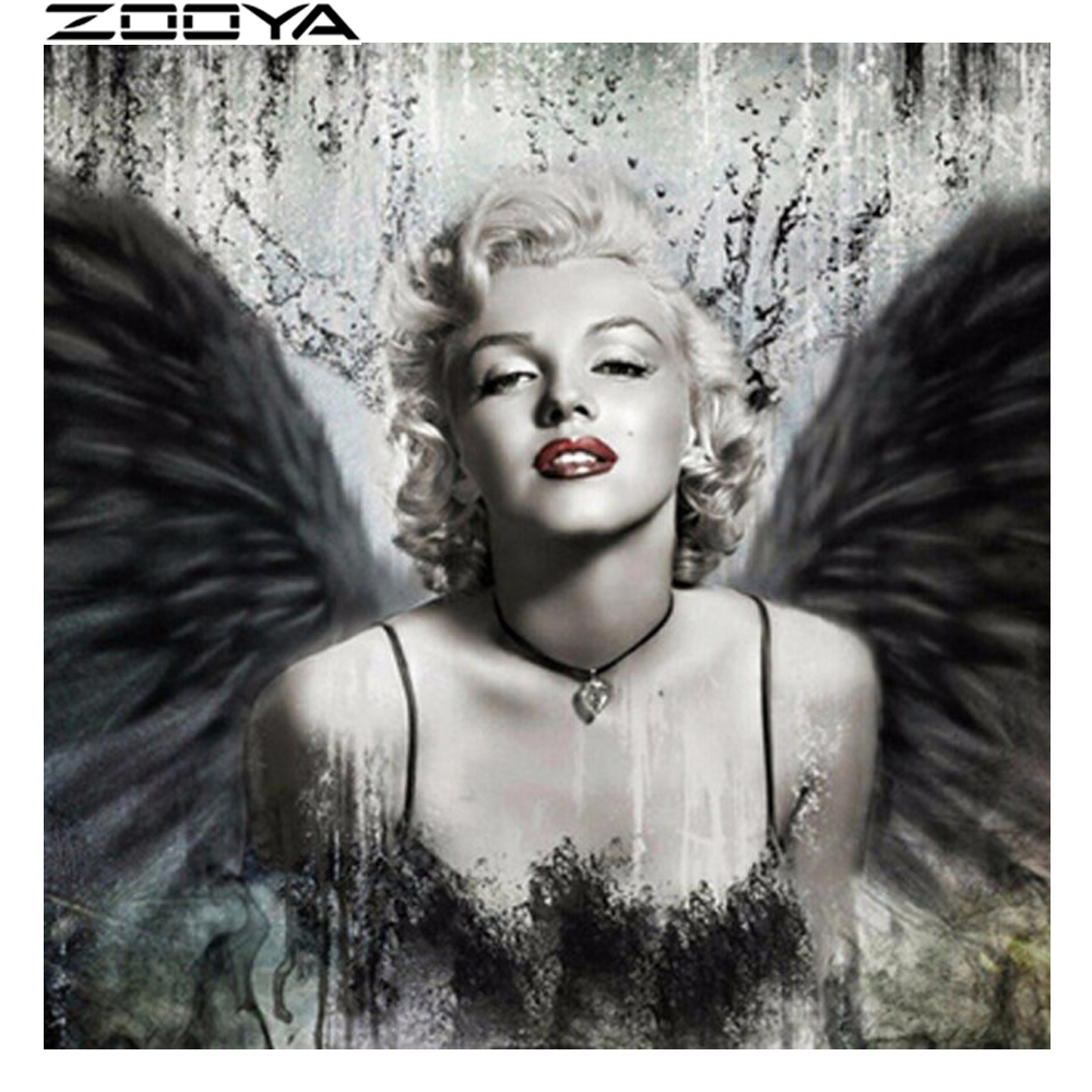 ZOOYA 5d <font><b>Diamond</b></font> <font><b>Painting</b></font> Marilyn Monroe <font><b>Diamond</b></font> Embroidery <font><b>Sexy</b></font> <font><b>Woman</b></font> Angel <font><b>Full</b></font> <font><b>round</b></font> <font><b>drill</b></font> Mosaic sale <font><b>Painting</b></font> by numbers image