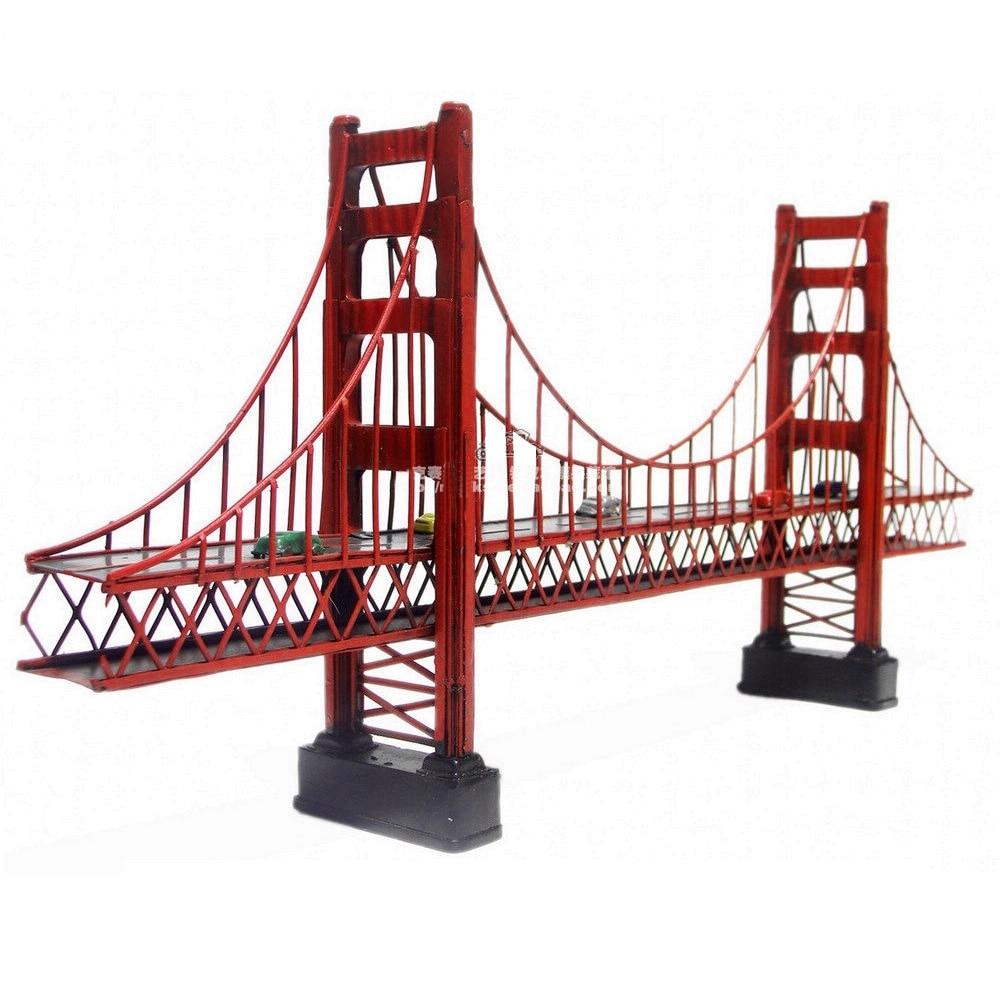 Retro Metal Building Model Decoration Golden Gate Bridge Statue Cafe Decor