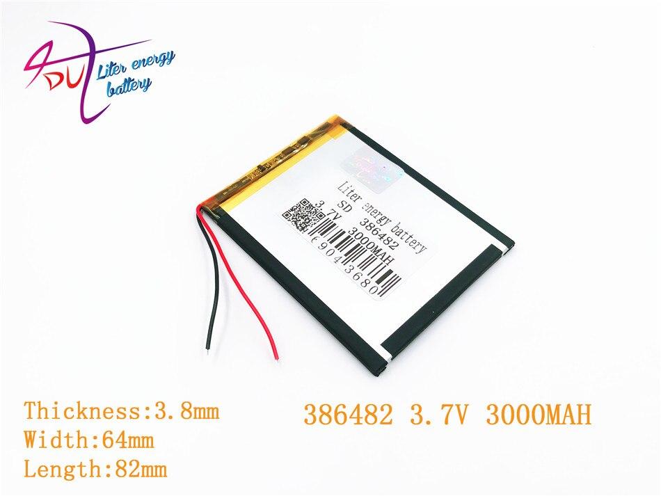 Liter Energie Batterie 386482 3,7 V 3000 Mah Lithium-polymer-batterie Mit Schutz Bord Für Vx787 Vx530 Vx540t Vx585 Einfach Und Leicht Zu Handhaben Batterien