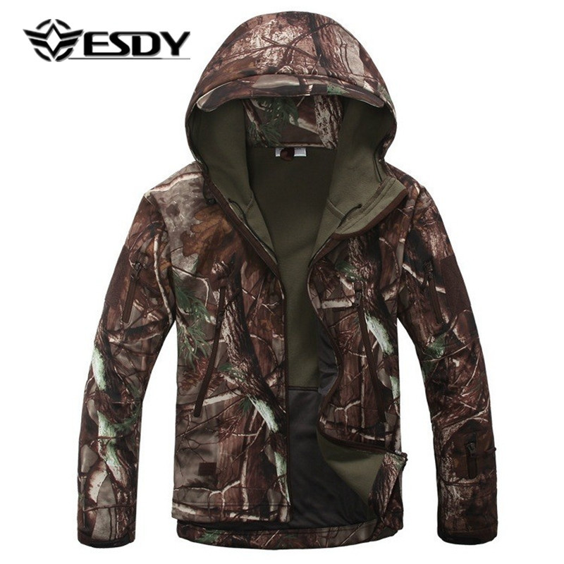 ESDY Tactical Military Jacket Men Lurker Shark Skin Softshell Waterproof Windproof Hooded Camo Camouflage Army Clothes Warm Coat