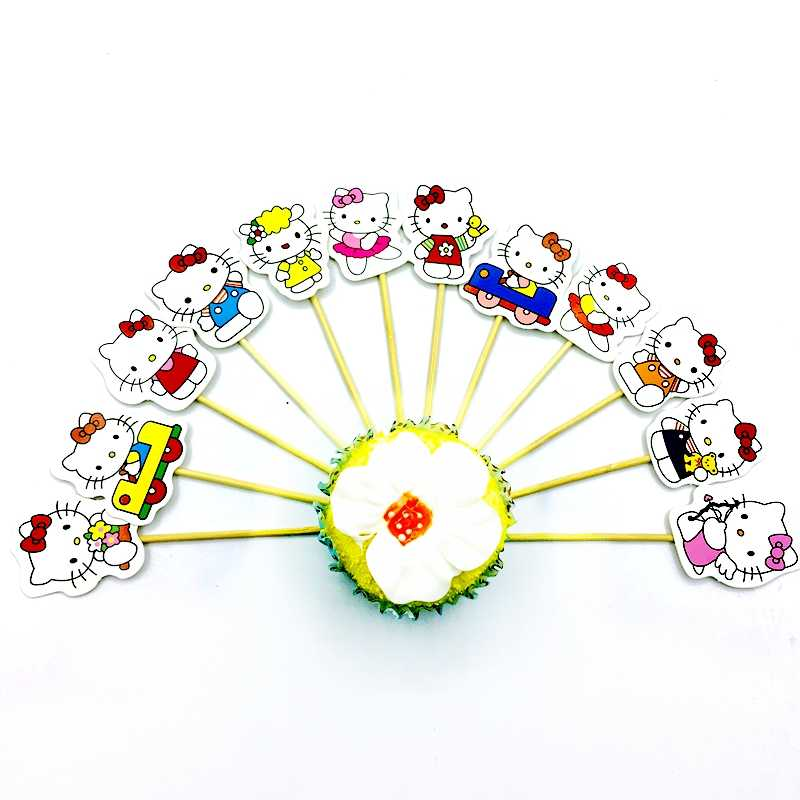 1set Happy Birthday Cartoon Hello Kitty Cat Cupcake Cake Topper Baby Shower Birthday Decoration Cake Baking Kids Party Supplies