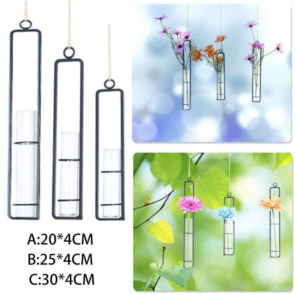 Kreatif Wall Hanging Vas Bunga Kaca Besi Hidroponik Planter Pot Transparan Bunga Gantung Botol Home Ornamen Dekorasi